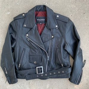 Wilson's Black Leather Motorcycle Jacket